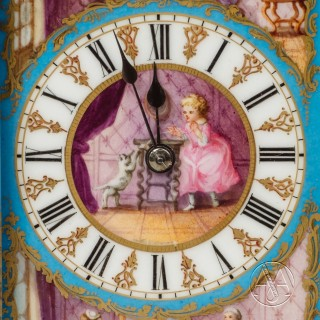 A Fine Sèvres Style Porcelain Mounted Carriage Clock