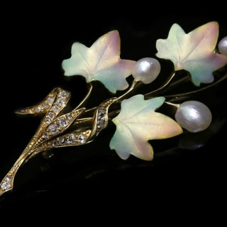 Art Nouveau enamel, pearl and diamond brooch, circa 1900.