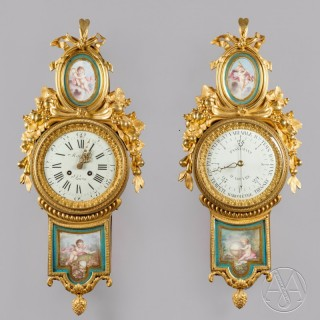 A Fine Louis XVI Style Gilt-Bronze and Sèvres Porcelain Mounted Cartel Clock and Barometer