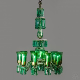 A Fine and Ornate Enamelled Overlay Ten-Light Emerald Green Chandelier