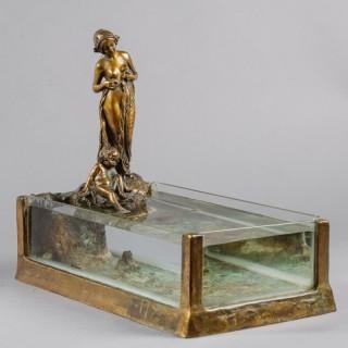 An Unusual Art Nouveau Bronze  Sculptural Aquarium
