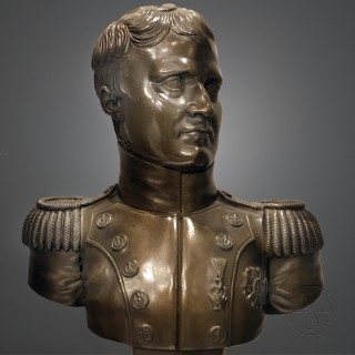 A Rare Russian Patinated Bronze Bust of Napoleon