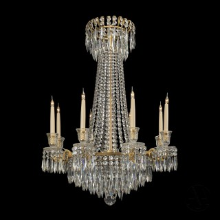 A Fine Regency Period Gilt-Bronze and Cut-Crystal Frame Chandelier