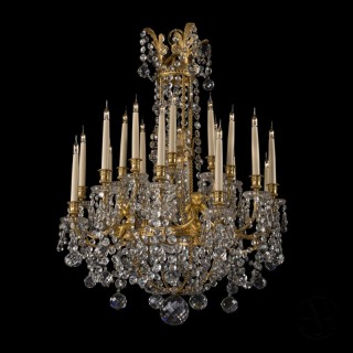 A Fine Louis XVI Style Gilt-Bronze and Moulded-Glass Twenty-Light  Chandelier