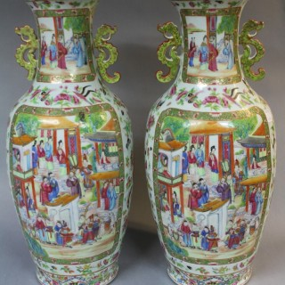 A pair of mid 19th century Chinese Canton Vases with green ears