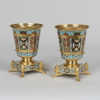 A Pair of Gilt Bronze and Champlevé Enamel Vases