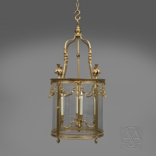 A Large Louis XVI Style Gilt-Bronze Cylindrical Four-Light Lantern