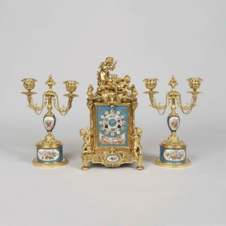 A Clock Garniture in the Louis XVI Manner By Le Roy et Fils
