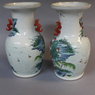Pair of 19th century Chinese polychrome vases