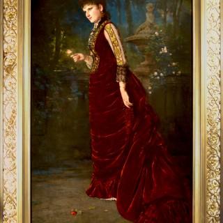 Portrait of an American Lady, wearing a Burgundy Velvet Dress