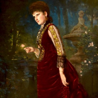 Portrait of an American Lady, wearing a Burgundy Velvet Dress