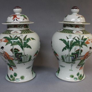 A large pair of 19th century Chinese famille verte porcelain baluster shaped jars
