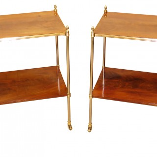 Fine Pair Of Early 20th Century Regency Style Mahogany & Metal Etagere Whatnots