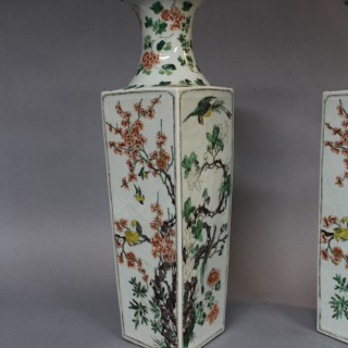 A pair of 19th century Chinese famille verte porcelain square form vases