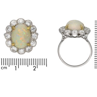 Opal and diamond coronet cluster ring, circa 1950.