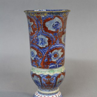 A late 17th century Kang Hsi Chinese clobbered porcelain goblet vase