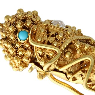 Turquoise and 0.27ct Diamond, 14ct Yellow Gold Grasshopper Brooch - Antique French Circa 1835
