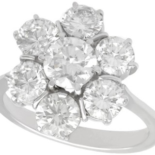 2.68 ct Diamond and 18 ct White Gold Cluster Ring - Vintage Circa 1950