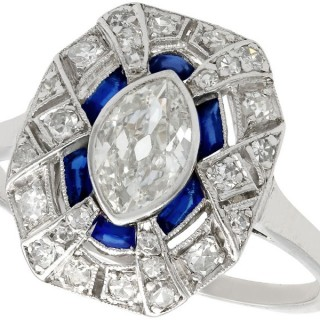 1.39ct Diamond and 0.33ct Sapphire, Platinum Dress Ring - Art Deco - Antique French Circa 1920