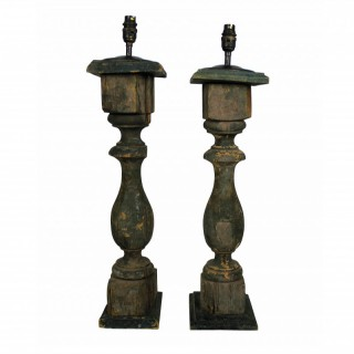 FRENCH XIX CENTURY PAINTED BALUSTRADE LAMPS