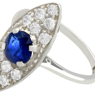 1.02 ct Sapphire and 0.84 ct Diamond, 18 ct White Gold Dress Ring - Antique Circa 1920