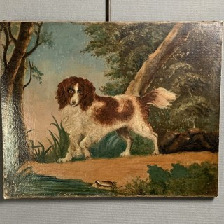 Unframed oil on canvas c1840 Springer Spaniel in Landscape
