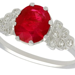 1.80 ct Ruby and 0.12 ct Diamond, 14 ct White Gold Dress Ring - Vintage French Circa 1940