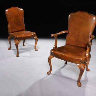 Fine Set of 8 (6 & 2) Generously Sized Antique Walnut & Leather Dining Chairs.