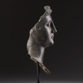 Ancient Roman Bronze Portrait Head of Young Woman with Open Mouth and Pensive Melancholy Look her Hair Arranged in Waves