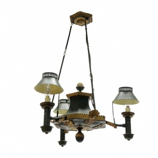 A FRENCH TOLEWARE CHANDELIER