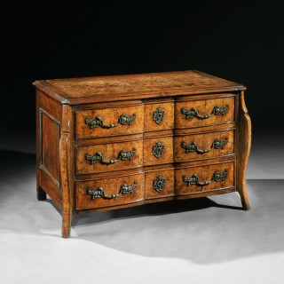 Rare Early 18th Century Louis XV Provincial Burr Elm Mazarin Commode