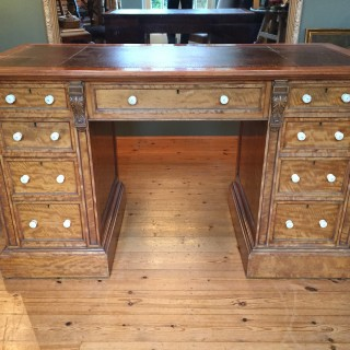 19th Century English Satinwood Pedestal Writing Desk with Original Leather Top