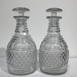 Pair of English Regency Period Cut Crystal Decanters with Original Stoppers