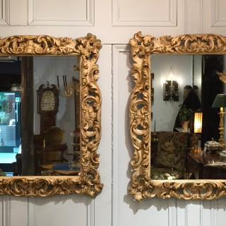 Pair of 17th Century English Carved Wood, Gesso and Parcel Gilt Frames