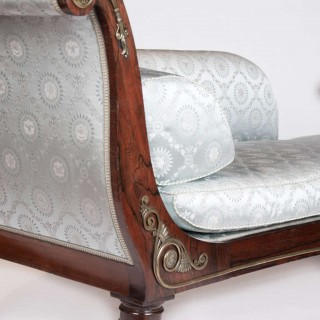 Regency Period Rosewood Chaise Lounge Blue Upholstery, style of George Smith