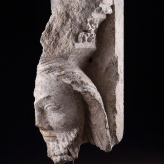 Early Medieval English Carved Limestone Head of Christ