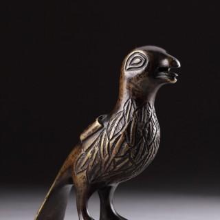 Netherlands Brabant or Belgian Mechelen Late Medieval Rare Cast Bronze Sculpture of a Hawk or Falcon