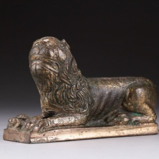 Late Medieval Gilt Bronze Lion