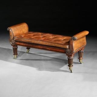 Fine Regency Rosewood Leather Upholstered Window Seat