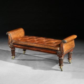 Fine Regency Rosewood Leather Upholstered Window Seat