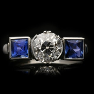 Art Deco diamond and sapphire ring, circa 1930.