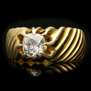 Old cut diamond solitaire ring, French, circa 1940.