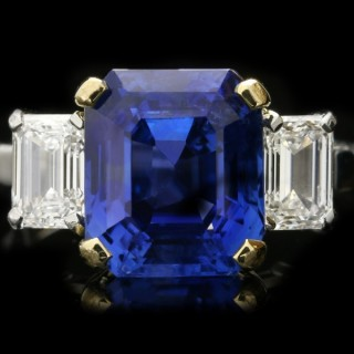 Vintage Burmese sapphire and diamond ring, English, circa 1950.