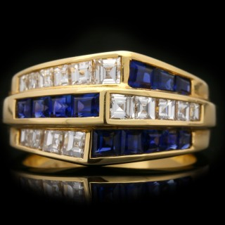 Oscar Heyman Brothers sapphire and diamond ring, American, circa 1960.
