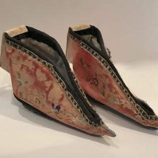 Pair of C19th Silk Lotus Shoes