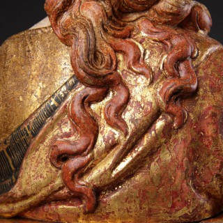Italian Florentine Renaissance Polychromed and Gilded Carved Poplar Wood Bust of the Mary Magdalen