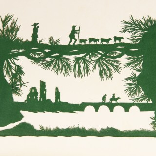 Interesting English Album Containing Thirty Five Finely and Intricately Cut Silhouettes