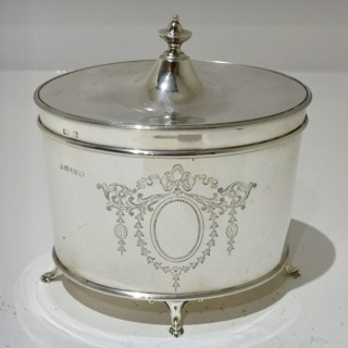 Antique Sterling Silver Edwardian Tea Caddy Birmingham 1927 Barker Bros Ltd