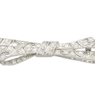 2.36ct Diamond and Platinum 'Bow' Brooch - Antique Circa 1935