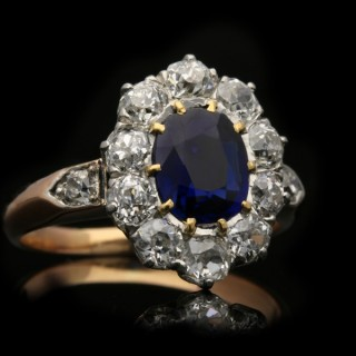 Edwardian sapphire and diamond coronet cluster ring, circa 1910.